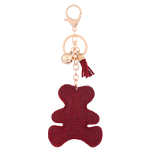 rhinestone pu leather keyring blank laser engraving keychain for women bag charms keyring