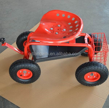 10u0026quot; Wheels Rolling Work Seat With Tool Tray For Gardening Landscape  Scooter