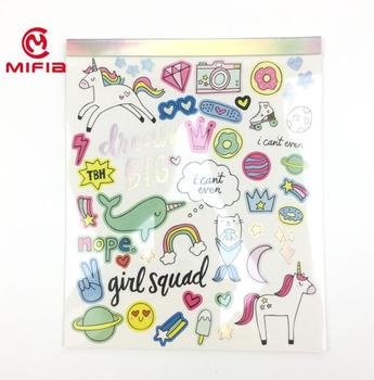 MIFIA holographic cartoon custom decoration sticker book for kids