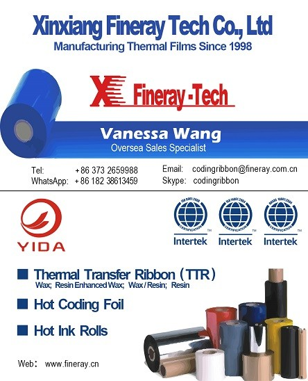 Xinxiang Fineray FC3 type 30mm*122m black hot coding foil for printing date and number seal expiration date coding