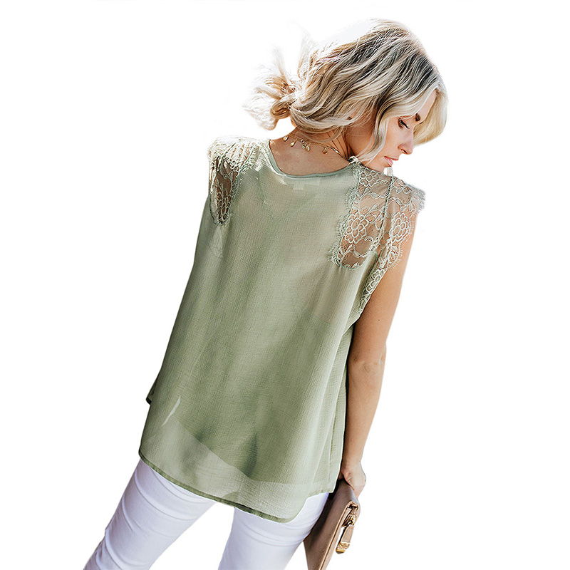 Casual Women Ladies Lace Top Sleeveless  Blouse