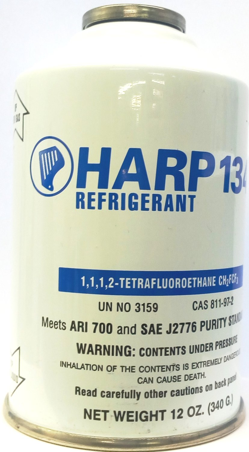 Harp R134a Automotive A/c Air Conditioning Refrigerant - 12 Oz. Disposable Can - Factory Sealed (12-Pack [12 OZ. Can])