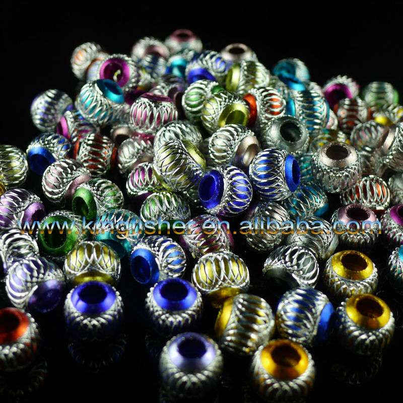 Mixed colors large hole european lantern charm aluminum beads 6mm/8mm/10mm/12mm/14mm/16mm wholesales.