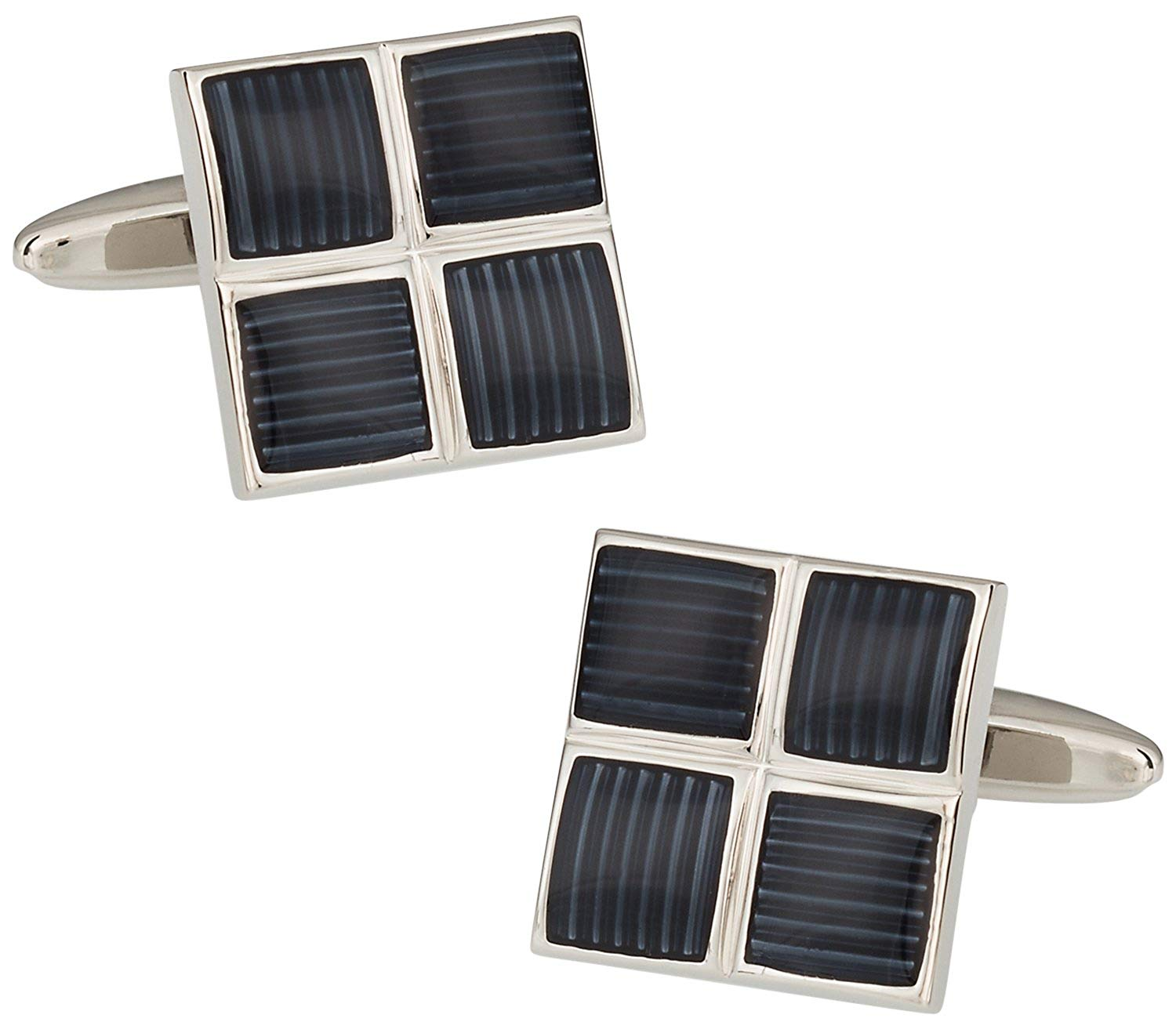 Cuff-Daddy Ribbed Four Piece Gray Enamel Square Cufflinks