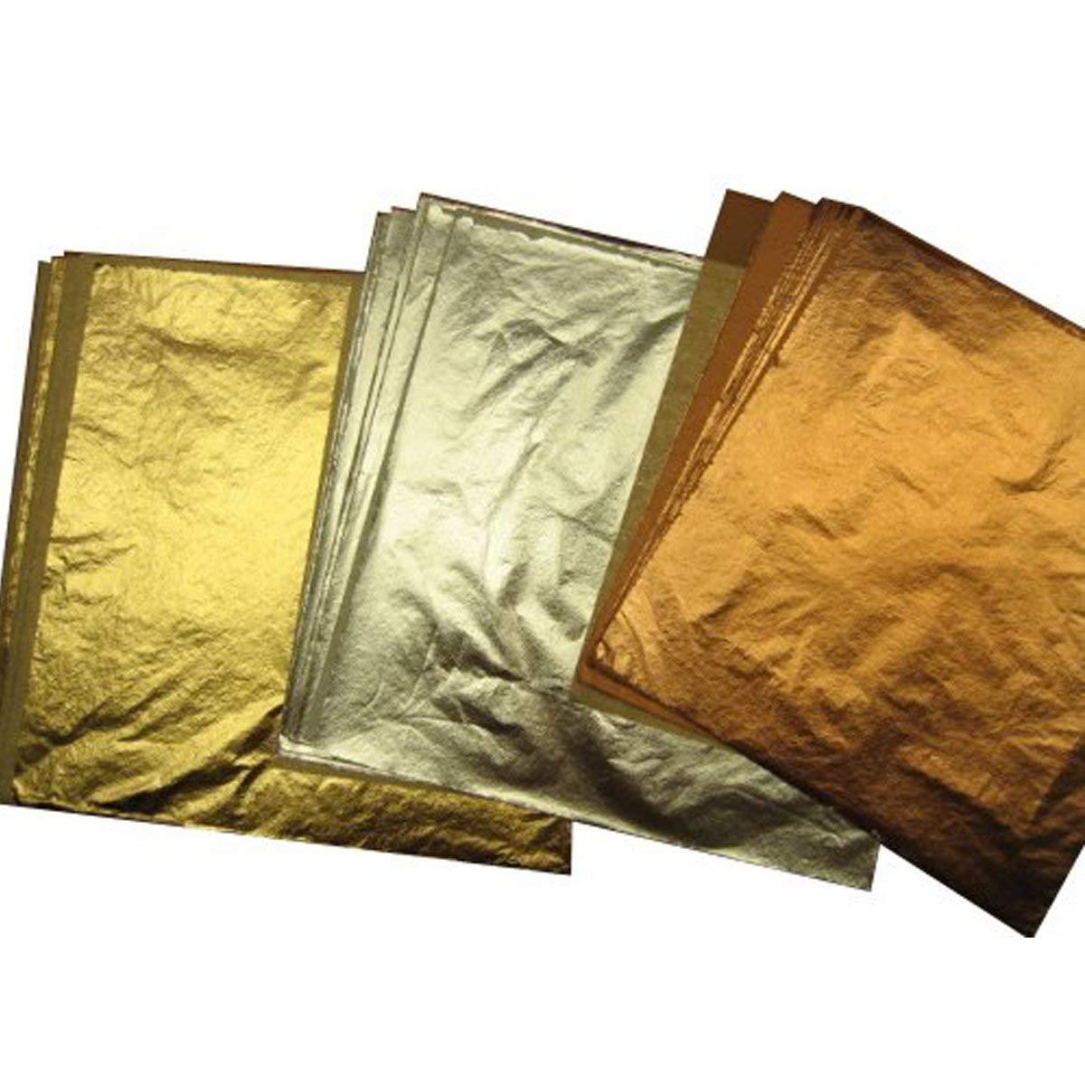 Copper Awakingdemi 100pcs Foil Leaf Leaves Sheets Foil Paper for Gilding Art Craft Decor 5.51 X 5.51inch