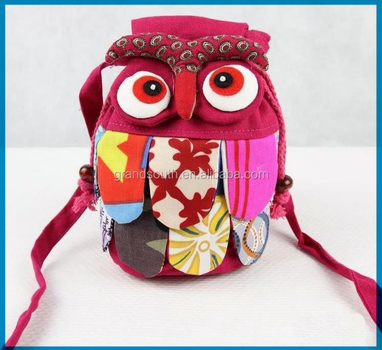 Wholesale Chinese Ethnic Character 100% Cotton Stitch Preschool baby Owl <strong>Shoulder</strong> Bag