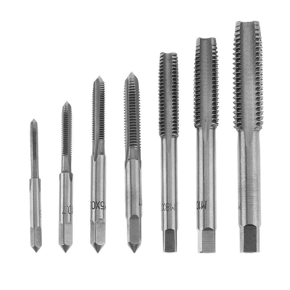 7pcs M3 M4 M5 M6 M8 M10 M12 HSS Machine Thread Metric Plug Tap Drill Bits