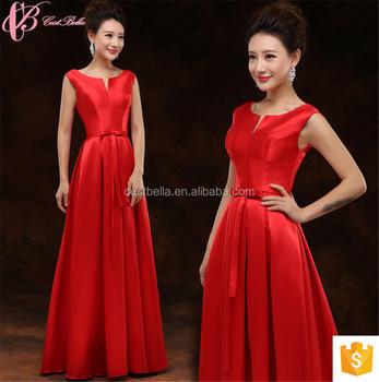 Asian Champagne Elegant Sleeveless Red Bridesmaid Evening Dress Girl ...