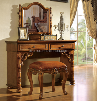 New design American style solid wood bedroom furniture dressing table with  mirror, wooden hand carved dresser, View dressing table, BISINI Product ...