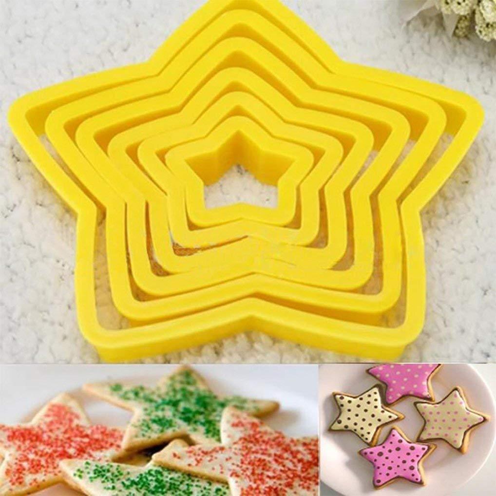 6Five-pointed Star Baking Molds DIY Pentagram Cookies Cake Cutter Mold Set Baking Tool (Yellow)