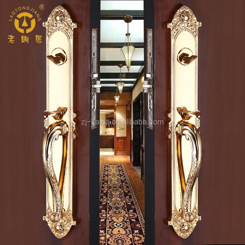 Gold Effect Luxury Entrance Door Handle Lock