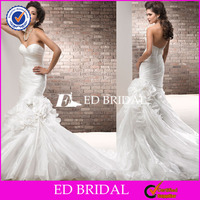 XL653 2014 new style popular cheap sweetheart neckline pleating handmade flowers mermaid tail wedding dress bridal gown