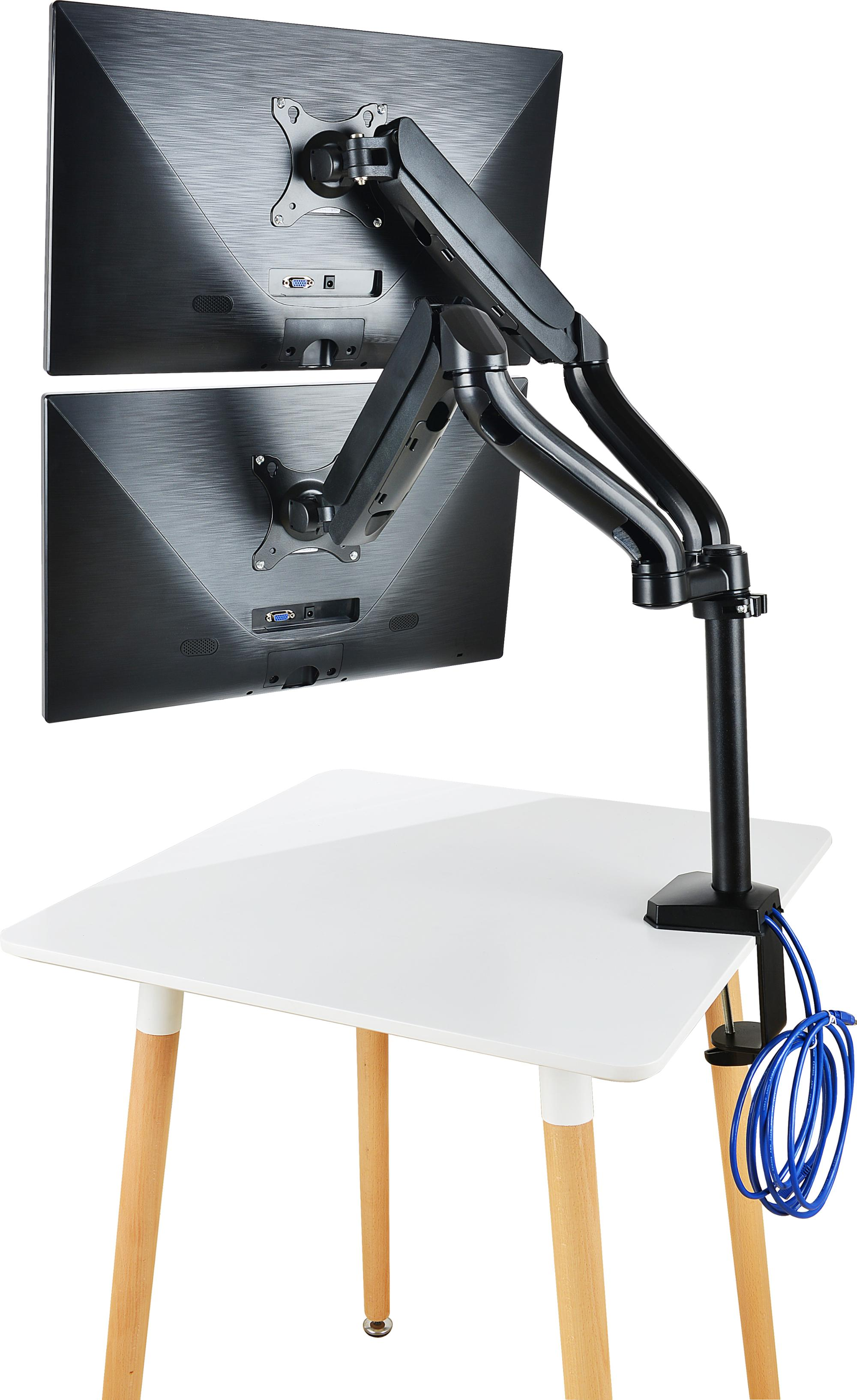 JLT Adjustable  360 Degrees Gas Sping   Aluminum LCD  Dual Monitor Arm Mount
