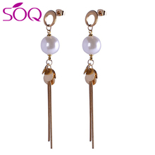 Hot Sale Simple Ear Jewelry Simulated Pearl Charm Long Drop Tassel Chain Earrings Hanging