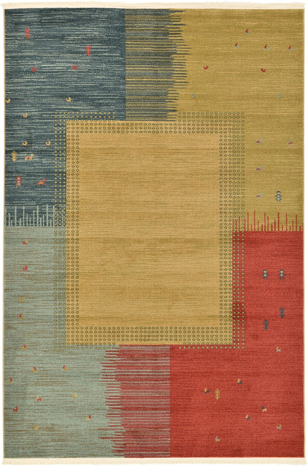 A2Z Rug 6-Feed-by-9-Feed Gabbeh Collection Area Rug - Tan Modern & Traditional rugs for living room - rugs for dining room & bedroom - Floor Carpet