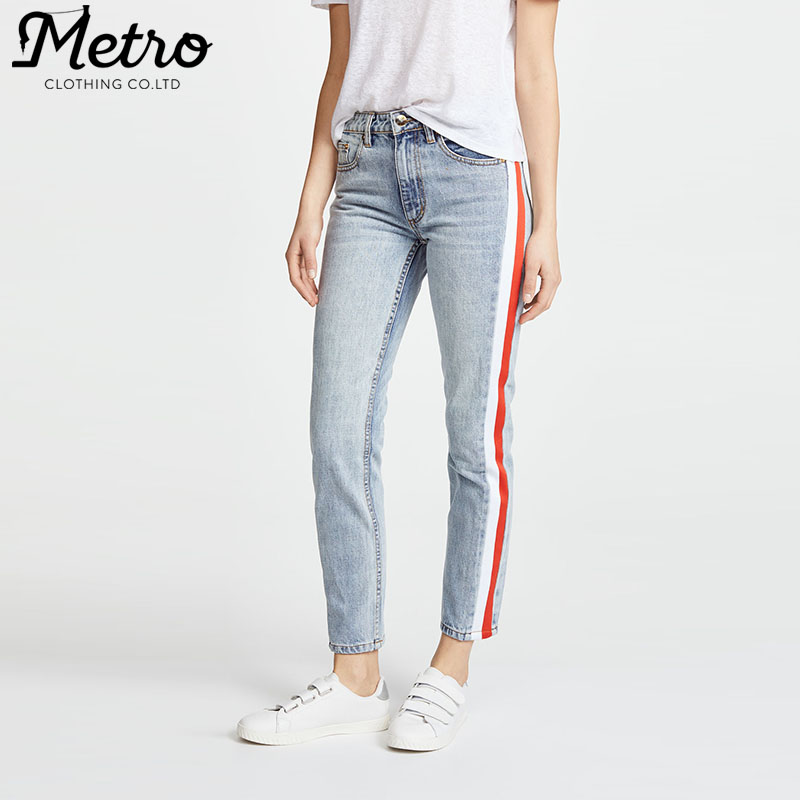 Skinny silhouette knit side stripes cropped jeans lady