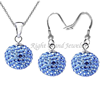 Jewelry Sets Rhinestone Balls Earrings Ear Stud & Necklace Pendant Set