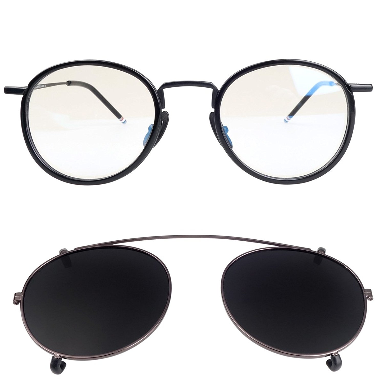 405e5d1012 Get Quotations · New York Fashion Round Optical Eyeglasses Frames with  Polarized Lens Clip