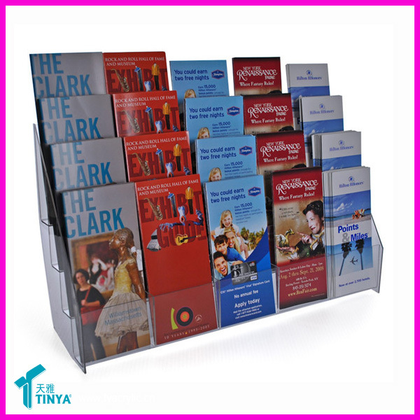 New 3 Compartment Countertop Literature/Magazine Display Rack Can Hold 15 Books Wholesale Acrylic Book Display Stand For Office