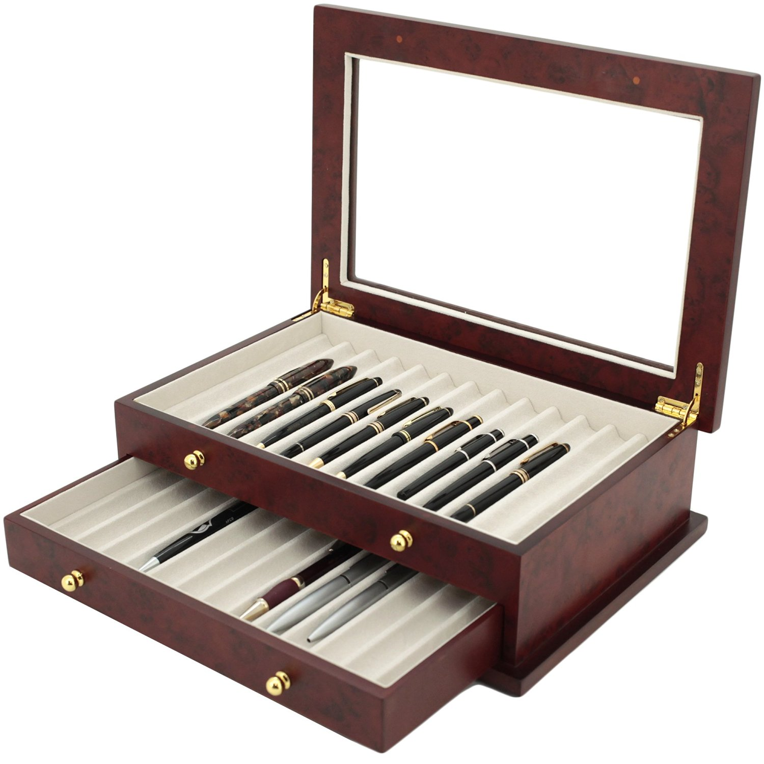 Pen Box 26 Fountain Pens Writing Instruments Wood Constructed Glass Display Case (Burlwood)