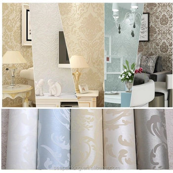 10M Embossed Metallic Damask Feature Flocked Non Woven Wallpaper Roll  Bedroom