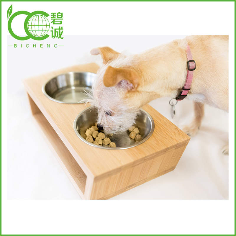 Bamboo Pet Accessory with 2 Pet Bowls Feeder