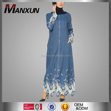 2016 Coat Design Denim Abaya With Lacework For Women Embroidered Zipper Tunic Modern Muslim Jeans Fabric Dress
