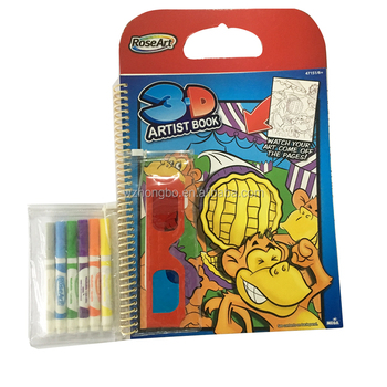 3d Artist Kids Coloring Book With Spiral Binding/3dglasses/pens - Buy  Unique Coloring Books,Coloring Book With Water Pen,Kids Color Filling Book  ...