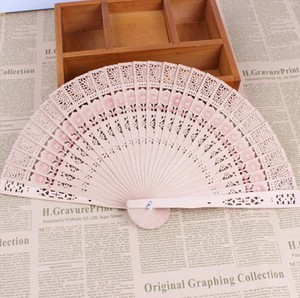 custom foldable bamboo wooden hand fan for wedding