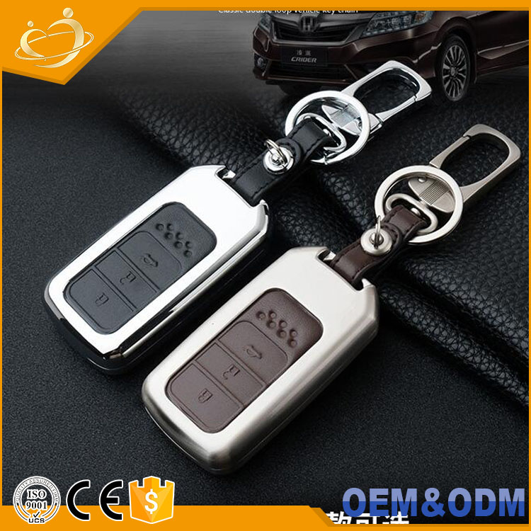 Honda smart key Genuine Leather smart case cover for Honda key chain fit Jazz Grace Jade Civic Odyssey Accord XR-V CR-V Vezel City Car-covers Car Stylin holder bag