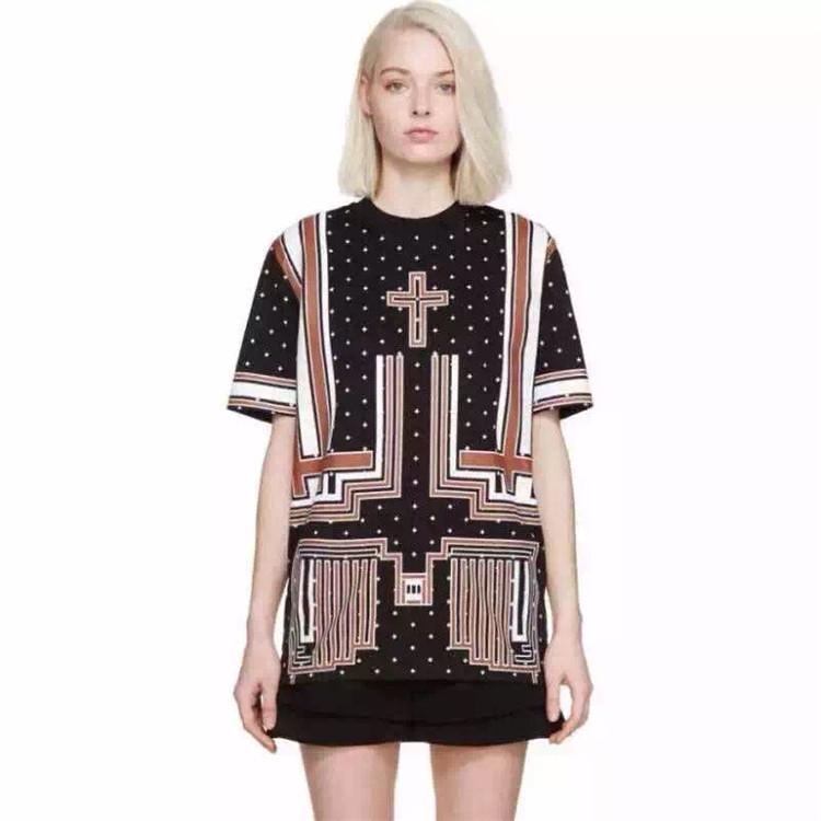 Get Quotations · OSCAR NINE Top Brand Women Silk GRAPHIC Crosses-print  Short Sleeve Chiffon Tunic Blouse Tops b3394c4857