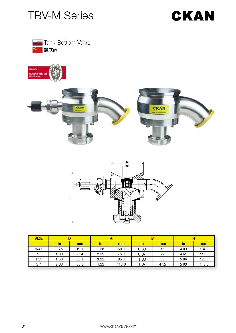 Sanitary stainless steel clamp Tank Bottom Valves