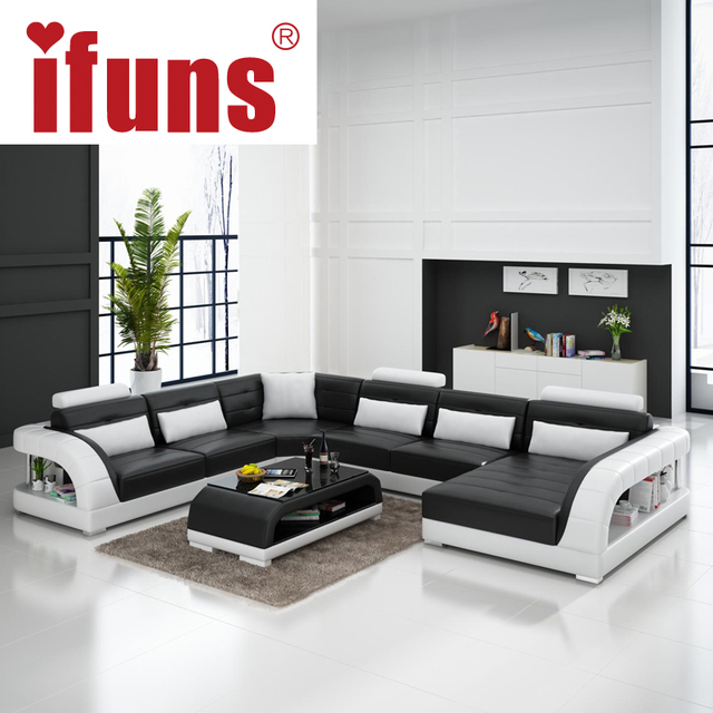 Large Luxury Sectional Sofas: IFUNS Large U Shaped Sofa White Cow Leather Couch Living