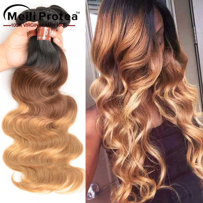 New fashionable color hair body wave colored three tone human hair weave
