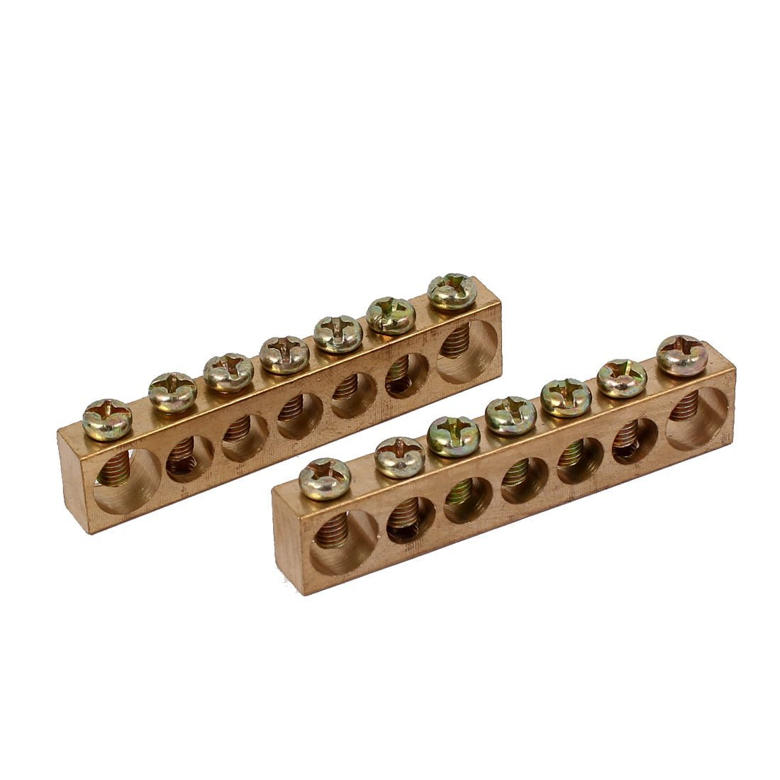 uxcell 7 Positions 7mm 10mm Dia Wire Screw Terminal Ground Copper Neutral Bar 2pcs
