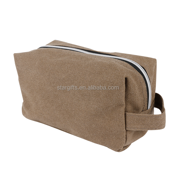 Custom Canvas Hanging Waterproof Travel Toiletry Bag For Men