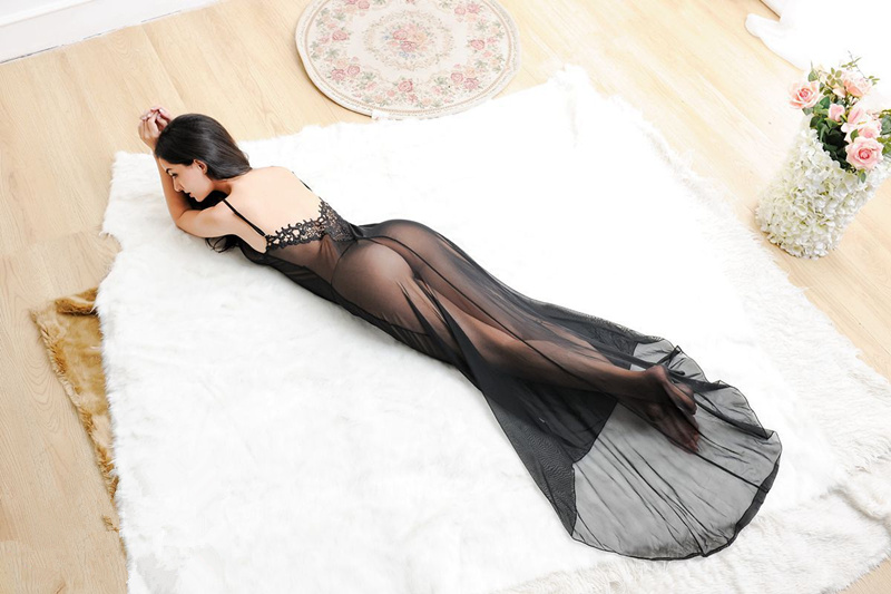 Spitze zurück Transparent Sexy Long Nightgown DJ9015