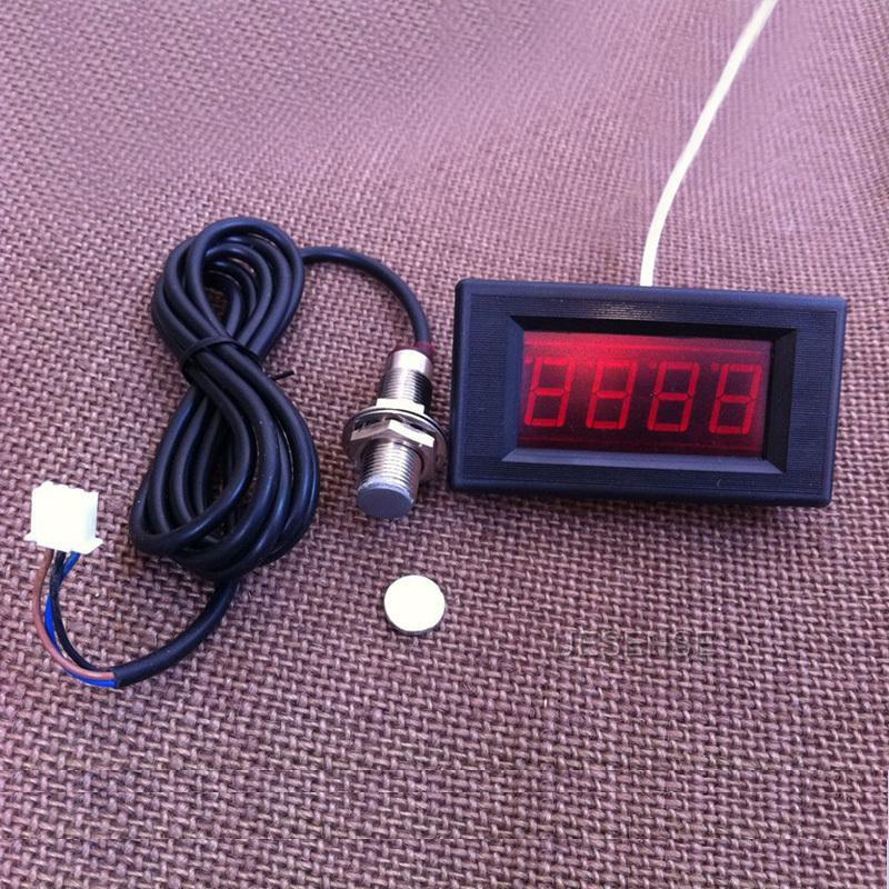 new 4 digital red led tachometer rpm speed meter proximity. Black Bedroom Furniture Sets. Home Design Ideas