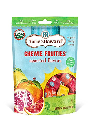 Torie & Howard Chewie Fruities Candy Assorted Flavors, Organic, 4 Ounce Bag (Pack of 8)