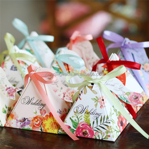 Delicate triangular flower ribbon wedding candy box favor box supplies