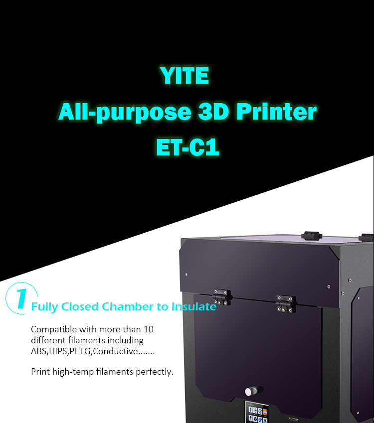 Yite ET-C1 3d printer with Heated bed pcb heat bed china plastic prototype maker 3d printer big factory shenzhen yite