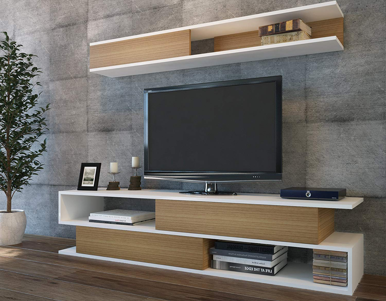 Gentil Get Quotations · LaModaHome Tv Stand Unit   Brown White Modern Living Room  Functional Elegant Stand Storage Multi Function