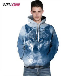 Relabel OEM custom animal sublimation 3d printing polyester pullover men hoodies