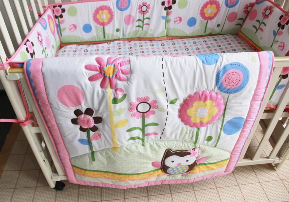 promotion 7pcs baby bedding set embroidered baby boy crib bedding sets bumper duvet bed cover. Black Bedroom Furniture Sets. Home Design Ideas