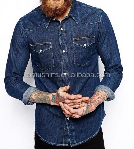 d45e3e35d9 Denim 100% algodón para dos bolsillos Hombre Camisas jeans camisas denim  Camisas