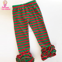 Latest Designs Red and Green Striped Icing Baby Leggings Clothing Wholesale Boutique Christmas Ruffle Pants