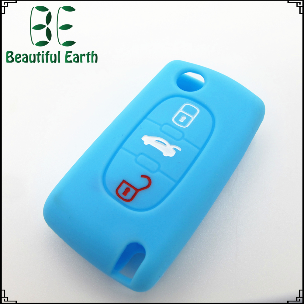 Wholesale cheap custom silicone car key protective cover for remote start for peugeot