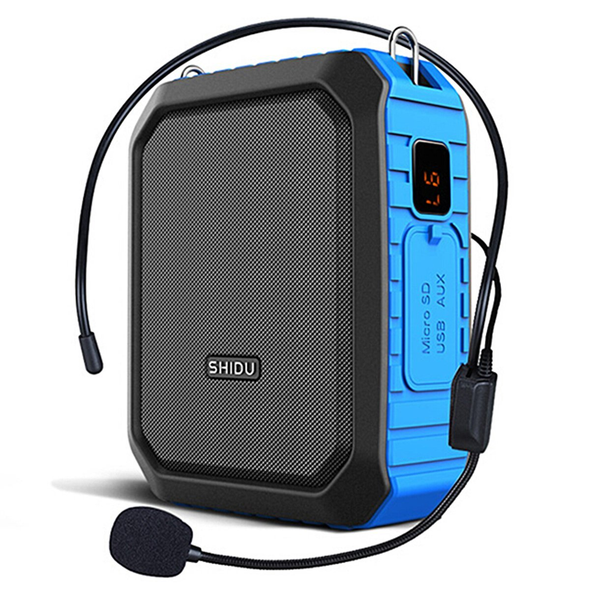 Voice Amplifier with Wired Microphone Headset 18W Portable Bluetooth Speaker Megaphone Loudspeaker Voice Recording Power Bank Waterproof IPX5 for Outdoor Activities, Shower, Teaching (Blue-Wired)