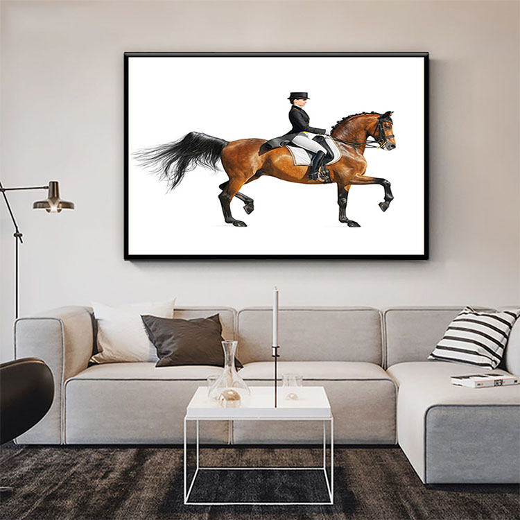 Classical printed artwork home goods wall art canvas man on horse painting