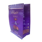 Heavy duty zip lock ground coffee bags custom printed mylar matte purple block bottom plastic bags with pocket zipper